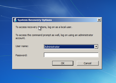 Windows 7 repair process username