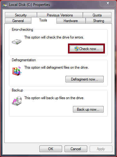 windows 7 tips check disk