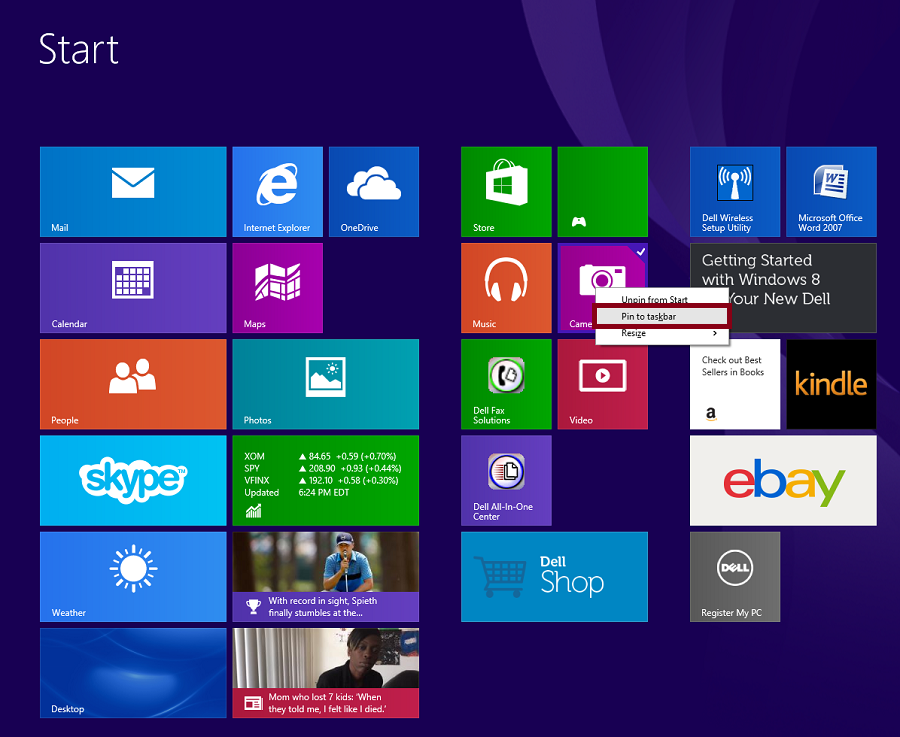 windows 8 trick pin apps taskbar