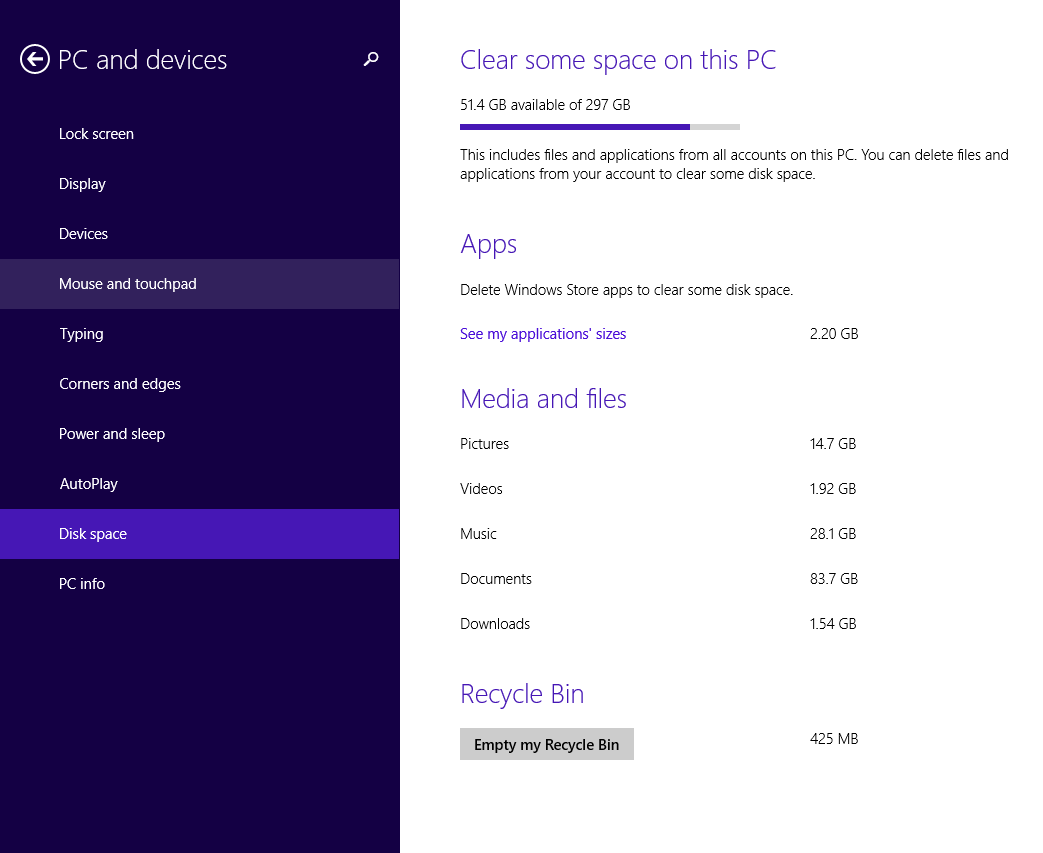 free disk space windows 8 tip